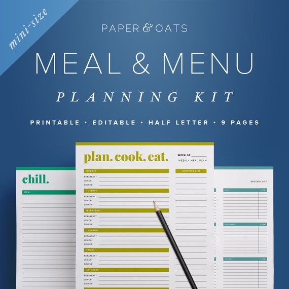 mini meal planner sheets menu planning daily meal planner etsy