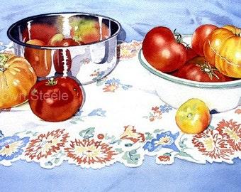 TOMATOES AND BOWLS - watercolor reproduction