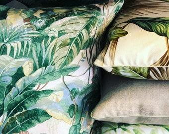 Tropical jungle piped cushion