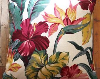 bird of paradise retro tropical cushion
