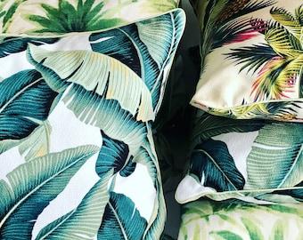 Sage banana leaf piped cushion