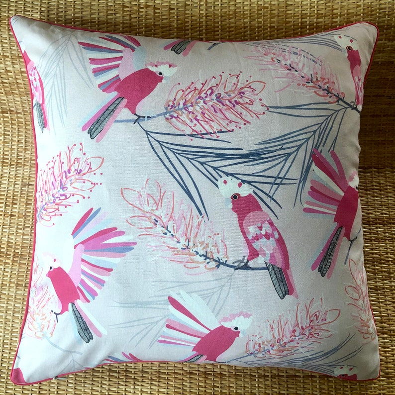 australian native cockatoo pin galah cushion cover image 0