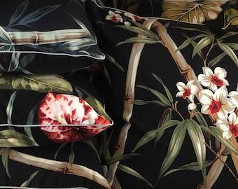 Black bamboo barkcloth cushion