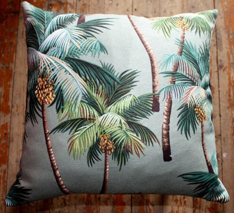 tropical palm tree barkcloth 45 cm sq cushion cover image 0