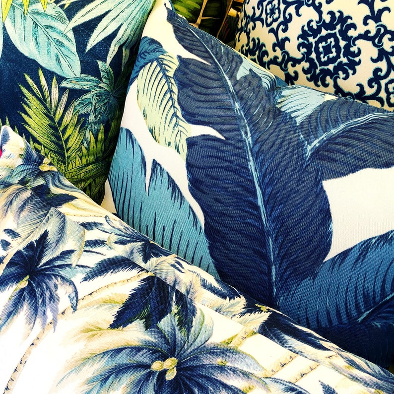blue banana leaf tropical outdoor cushion cover image 0