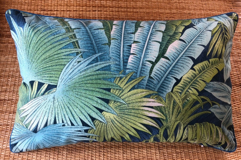 blue tropical palm leaves lumbar cushion cover image 0