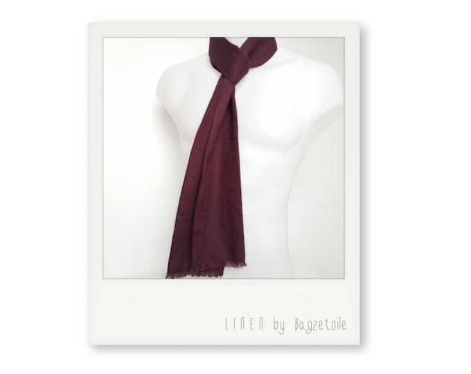 burgundy Linen Neck scarf, for a stylish, casual look, perfect for summer, long scarf, skinny scarf, men's scarf