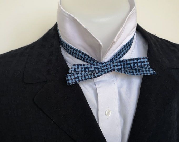 bowtie mens, extra slim style - freestyle, self tie for men / tailored to collar size, blue houndstooth cotton fabric