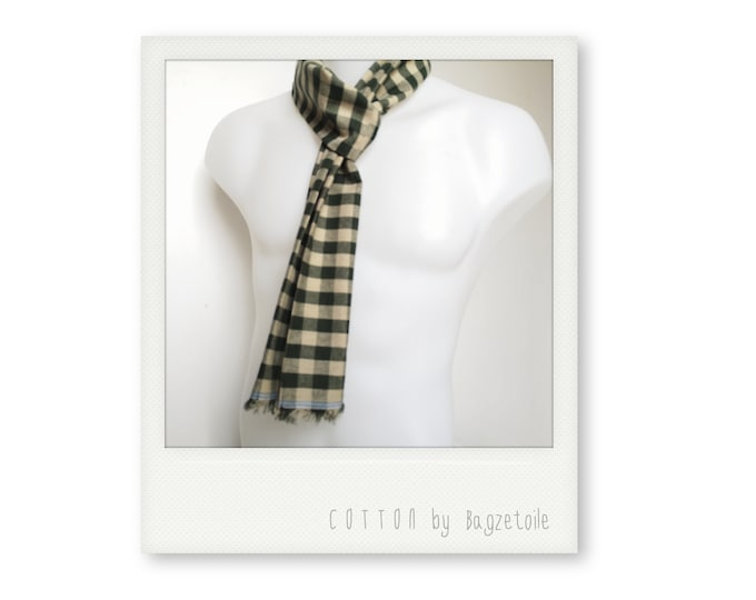 Green check Neck scarf, for a stylish, casual look, perfect for summer, long scarf, skinny scarf, men's scarf