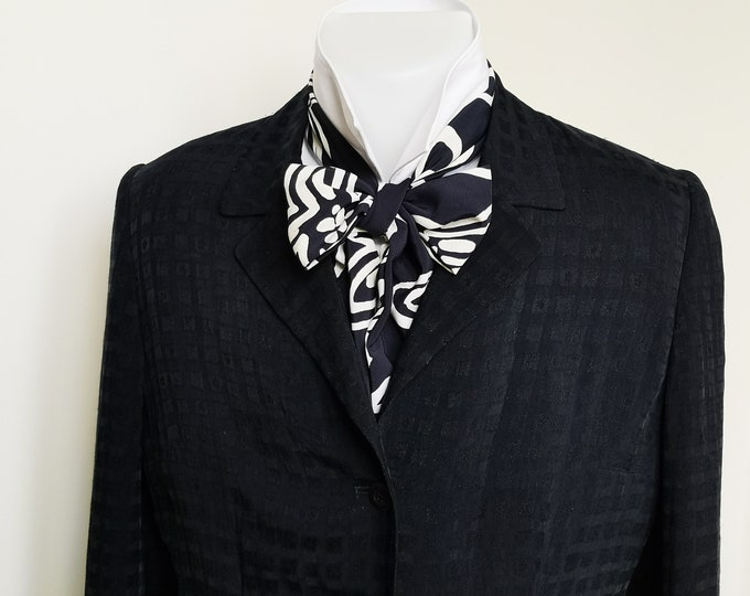 Floppy Bow Tie - mens - self tie - just for men - crepe de chine, midnight blue and white - Bagzetoile handmade  mens bowties