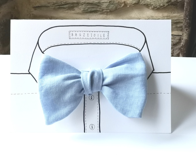 NEW - fuller Bow - pale blue linen fabric bowtie - I make freestyle bow ties for men / bow tie for him, self tie men's bowtie.