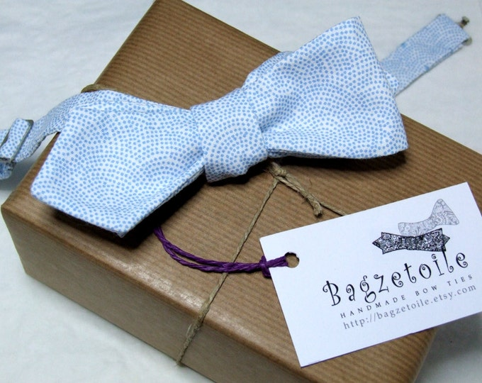"""Bow tie,  mans, blue cotton print - adjustable to collar size 14 to 18 1/2"""" -  self-tie for men - diamond point - ships worldwide"""