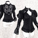 Blouse Victorian, S, goth, black, steampunk, romantic shirt, Somnia Romantica, size S see item details and size chart for measurements