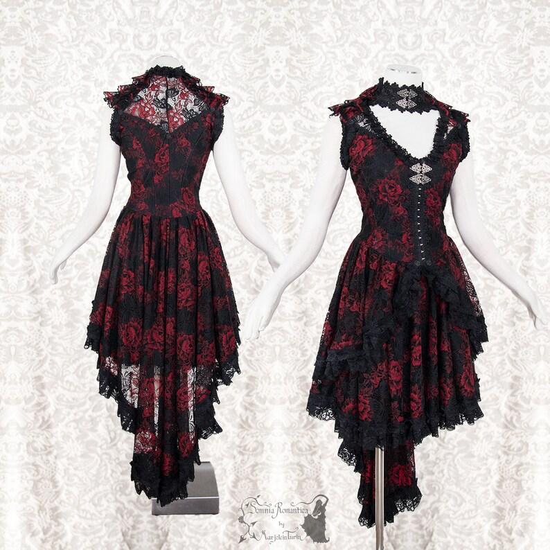 Victorian Goth Dress M Art Nouveau Burlesque 2 Piece Red Etsy
