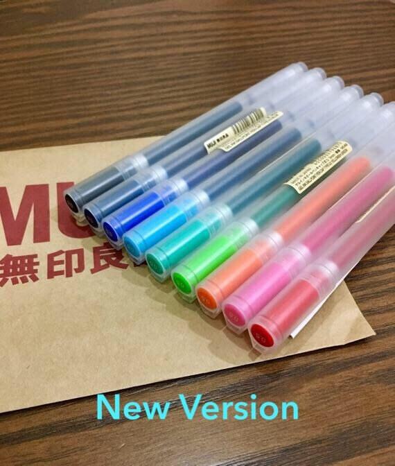 JAPAN 4 PACK New /& Authentic MUJI Orange Gel Ink Ballpoint Pen Pink 0.38mm