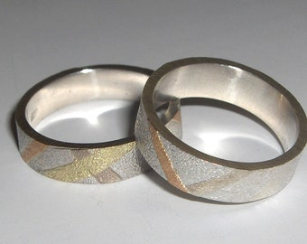 Golden Rays engagement wedding multicolour silver and gold ring by RoughAsNature to order