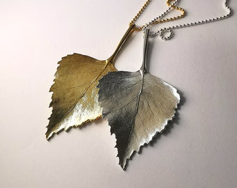 Big Birch Leaf silver necklace by RoughAsNature - Swedish Leaves collection