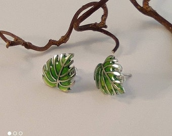 Monstera leaf silver post earrings by RoughAsNature, ready to go!