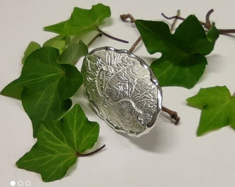 Sterling silver Under Bark open ring by RoughAsNature