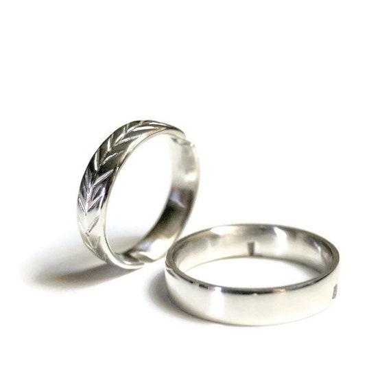 55616b3a9877 Anillo de boda Set alianzas Alianzas plata Alianza grabada