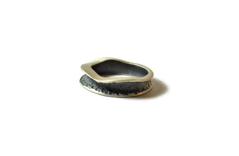 TEXTURED SILVER RING Oxidized silver Hammered silver ring Silver thumb ring Bohemian jewelry Christmas jewelry