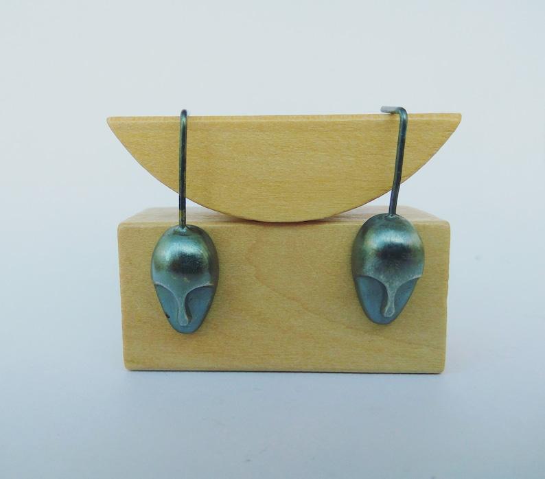Sculpture earrings Human mask earrings Silver Mask earrings Drop earrings Sterling Silver earrings Dangle earrings Mother day gift.