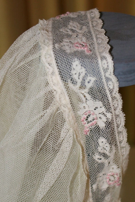 1910-20s Wedding Veil Embroidered and Trimmed in P
