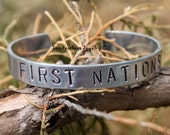 FIRST NATIONS - Hand Stamped Cuff Bracelet For Women Or Men