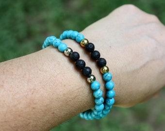 New Fashion Turquoise Feathers Beads Bracelet Women Men Jewelry Gift Silver UK
