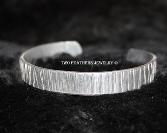 Textured Metal Cuff Bracelet - Hammered Cuff - Non Tarnish Cuff - Aluminum Cuff - Gift For Her - Silver Cuff Bracelet - Silver Alternative