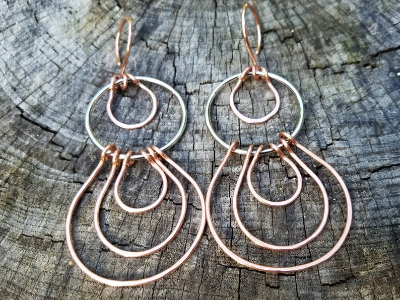 Copper And Steel Gauged Earrings Mixed Metals