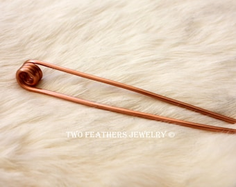 Copper Hair Fork - Coiled Hair Fork - Long Hair Accessory - Copper Hair Stick - Bun - French Twist - Metal Hair Fork - Haarstab Metall