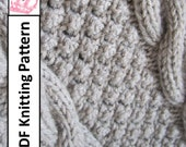 PDF KNITTING PATTERN, Cable knit blanket pattern, Blackberry Cables throw afghan blanket