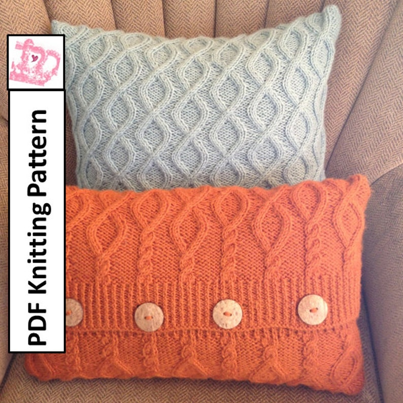 Cable Knit Pillow Cover Pattern Pdf Knitting Pattern Knitted Etsy