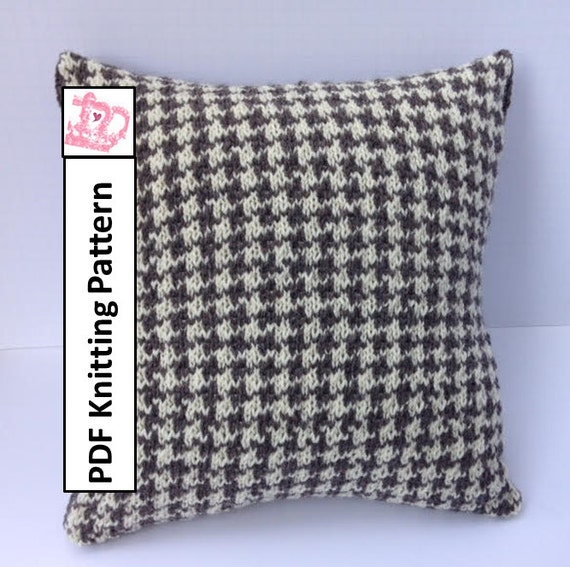 PDF KNITTING PATTERN knit pillow cover pattern Houndstooth | Etsy