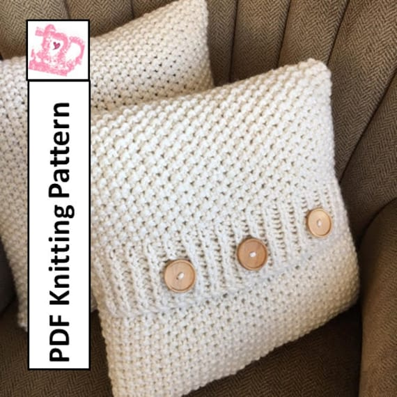Knit Pattern Pdf Knit Pillow Cover Pattern Super Simple Seed Etsy