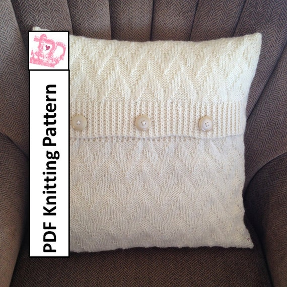 Knit Pillow Cover Pattern Pdf Knitting Pattern Knitted Etsy