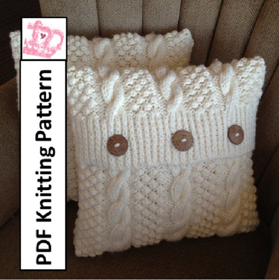 Knit Pattern Pdf Cable Knit Pillow Cover Pattern Blackberry Etsy