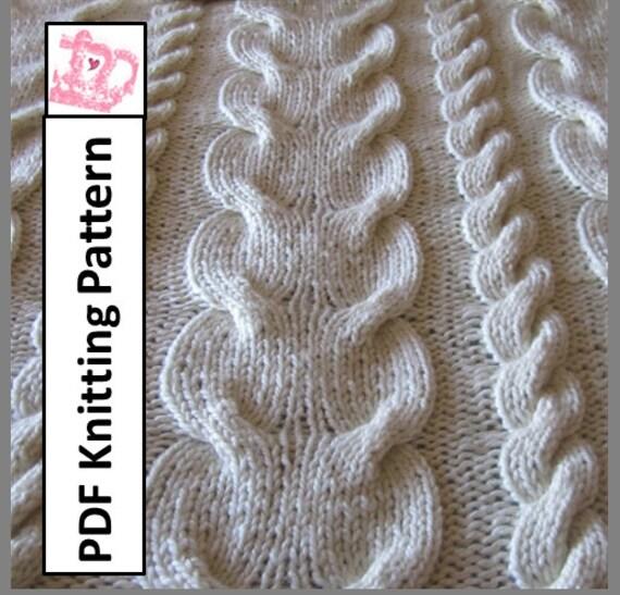 Pdf Knitting Pattern Cable Knit Blanket Knitting Pattern Etsy