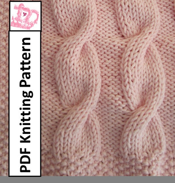 Baby Blanket Knitting Pattern Baby cable throw/afghan/blanket