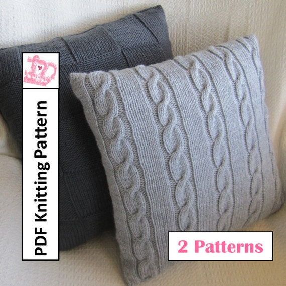 Knit Pillow Cover Patterns Classic Cable And Simple Squares Etsy