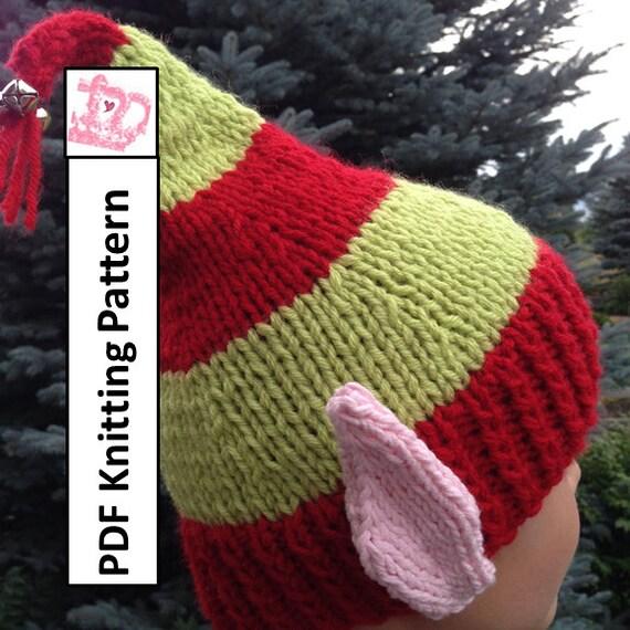 Pdf Knitting Pattern Hat Knitting Pattern Elf Ears Jingle Etsy
