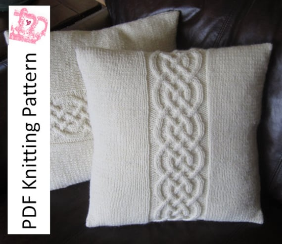 Cable Knit Pillow Cover Pattern Knit Pattern Pdf Celtic Knot Etsy