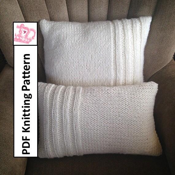 Pdf Knitting Pattern Chunky Knit Pillow Cover Pattern Rib Etsy