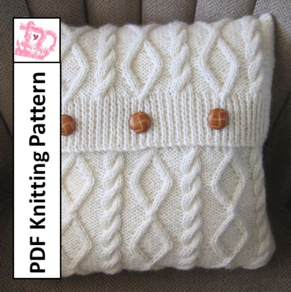 Knit Pattern Pdf Cable Knit Pillow Cover Pattern Diamonds Etsy