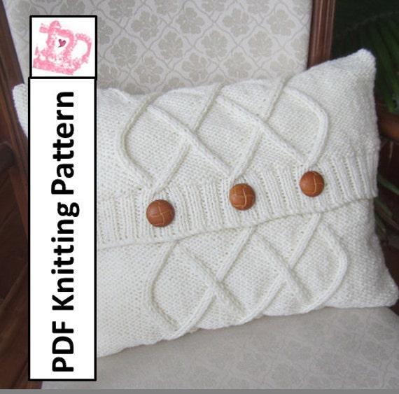 Cable Knit Pillow Cover Knit Pattern Pdf Triple Diamond
