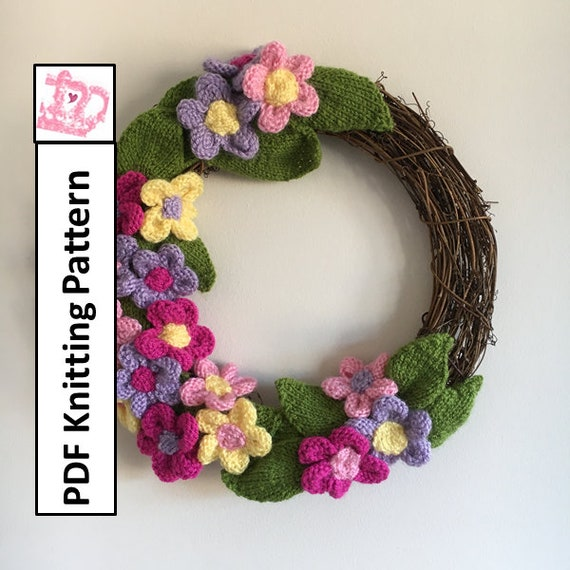 Flower Wreath Knitted Wreath Summer Decoration Spring Etsy