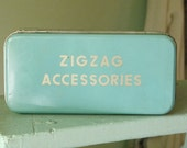 ZigZag Accessories Tin, Vintage Sewing Tin, Aqua Tin with Sewing Notions