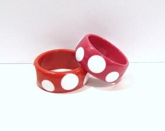 Vintage Bracelet - Polka Dot Bracelet - Chunky Bracelet - Red Pink Dot - Bold Bracelet - 1980s Bracelet - Costume Jewelry