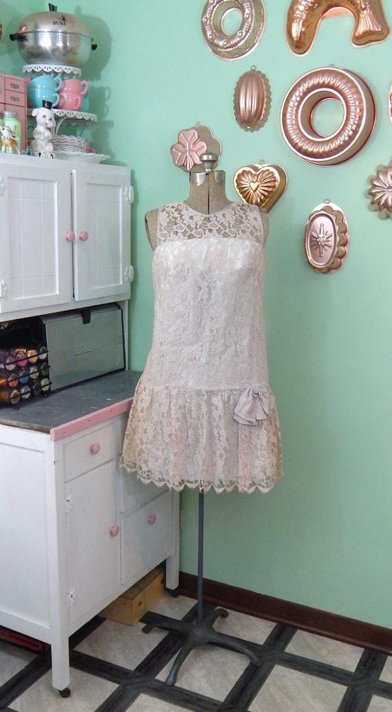 Vintage Dropwaist Lace Dress - XS Vintage Dress -